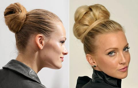 Как сделать модный пучок на средние волосы
