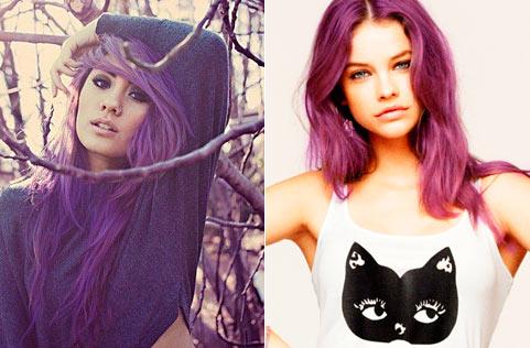 Фиолетовые волосы фото.