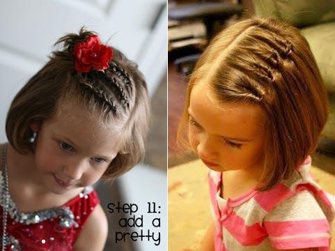 Прическа для девочки на короткий волос на праздник