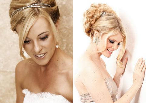 Прическа свадебная на среднюю длину блондинка6