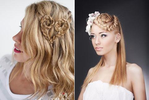 Итак, в верхней части прически выполняется коса-корона, а остальные волосы, начиная от области ушей, остаются
